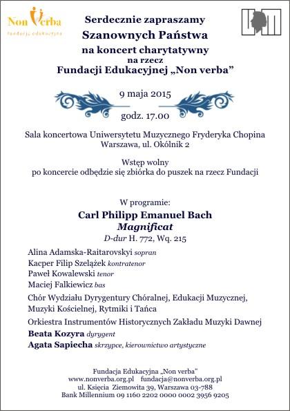 Zaproszenie naKoncert 9.05.2015